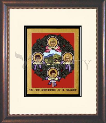 Wall Frame Double Mat Gold - Four Church Women of El Salvador by L. Williams