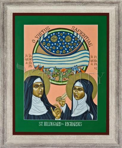 Wall Frame Silver Flat - St. Hildegard of Bingen and her Assistant Richardis by L. Williams