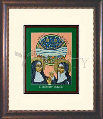 Wall Frame Double Mat Gold - St. Hildegard of Bingen and her Assistant Richardis by L. Williams