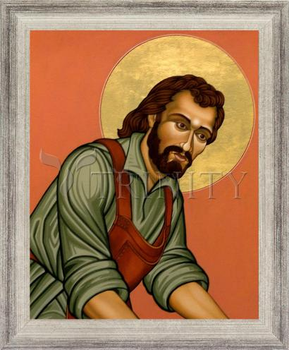 Wall Frame Silver Flat - St. Joseph the Worker by L. Williams
