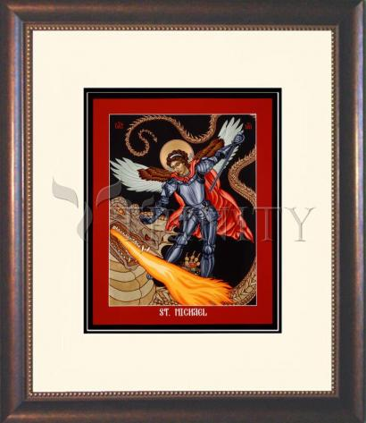 Wall Frame Double Mat Gold - St. Michael Archangel by L. Williams