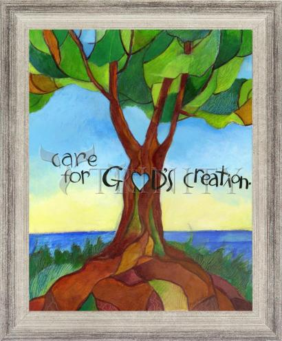Wall Frame Silver Flat - Care For God's Creation by M. McGrath