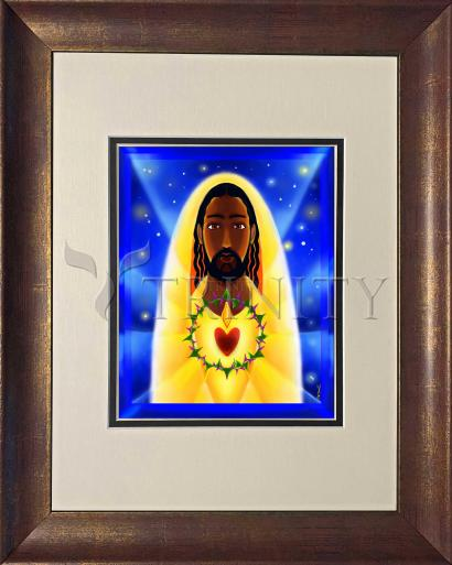 Wall Frame Double Mat Rustic Gold - Cosmic Sacred Heart by M. McGrath