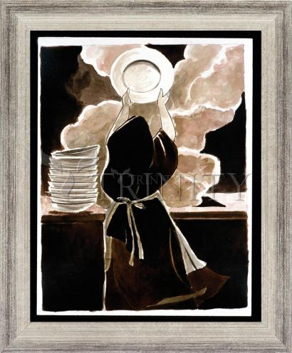 Wall Frame Silver Flat - St. Thérèse Doing the Dishes by M. McGrath
