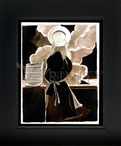 Wall Frame Double Mat Gold - St. Thérèse Doing the Dishes by M. McGrath
