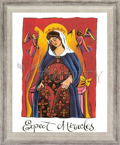 Wall Frame Silver Flat - Mary: Expect Miracles by M. McGrath