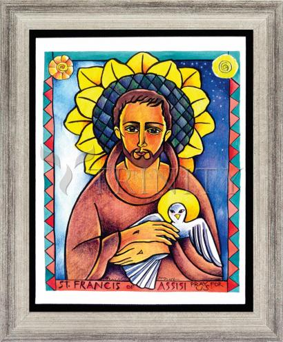 Wall Frame Silver Flat - St. Francis of Assisi by M. McGrath