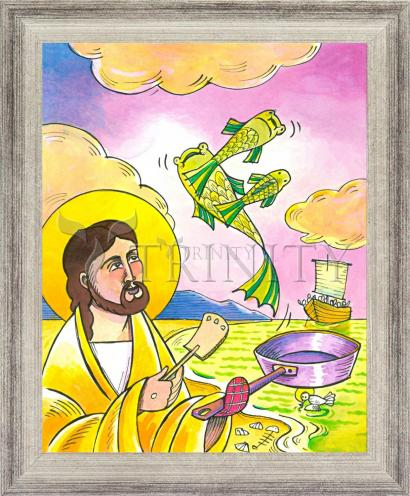 Wall Frame Silver Flat - Jesus: Fish Fry With Friends by M. McGrath