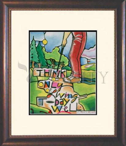 Wall Frame Double Mat Gold - Golfer: Think Only of Living Today Well by M. McGrath