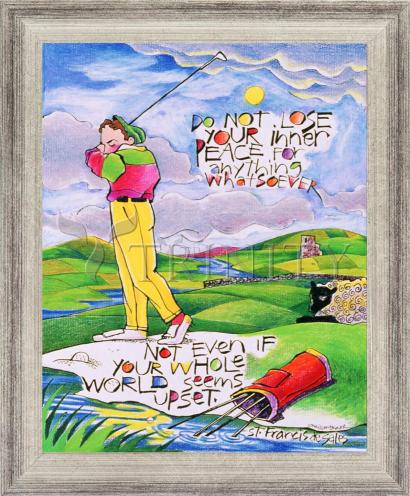 Wall Frame Silver Flat - Golfer: Do Not Lose Your Inner Peace by M. McGrath