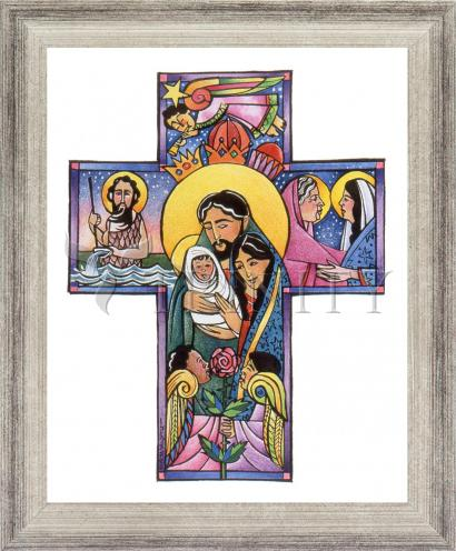 Wall Frame Silver Flat - Holy Family Cross by M. McGrath