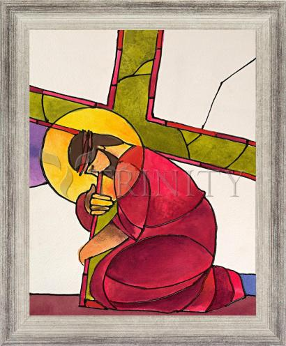 Wall Frame Silver Flat - Stations of the Cross - 03 Jesus Falls the First Time by M. McGrath