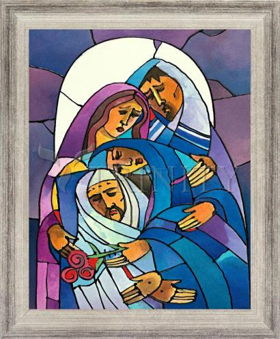 Wall Frame Silver Flat - Stations of the Cross - 14 Body of Jesus is Laid in the Tomb by M. McGrath