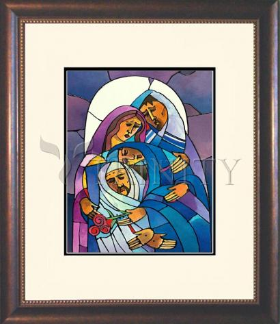 Wall Frame Double Mat Gold - Stations of the Cross - 14 Body of Jesus is Laid in the Tomb by M. McGrath