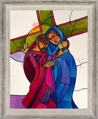 Wall Frame Silver Flat - Stations of the Cross - 04 Jesus Meets His Sorrowful Mother by M. McGrath