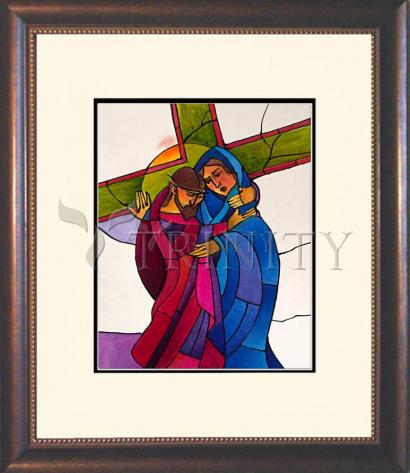 Wall Frame Double Mat Gold - Stations of the Cross - 04 Jesus Meets His Sorrowful Mother by M. McGrath