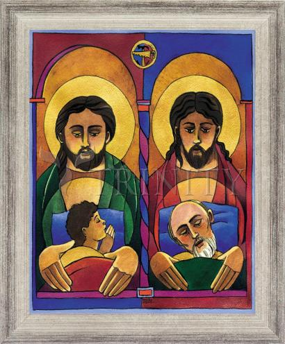 Wall Frame Silver Flat - St. Joseph and Jesus by M. McGrath