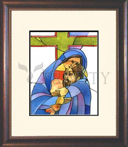 Wall Frame Double Mat Gold - Stations of the Cross - 13 Body of Jesus is Taken From the Cross by M. McGrath