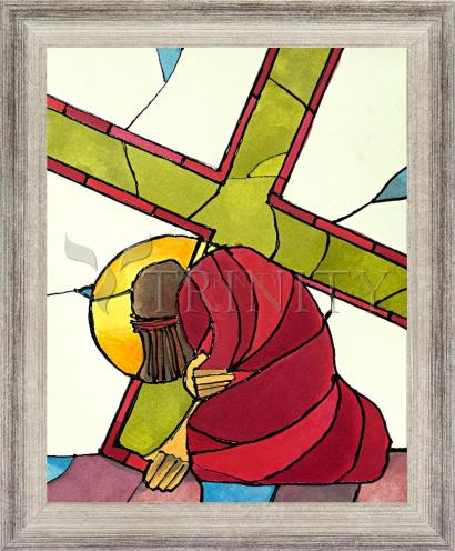 Wall Frame Silver Flat - Stations of the Cross - 07 Jesus Falls a Second Time by M. McGrath