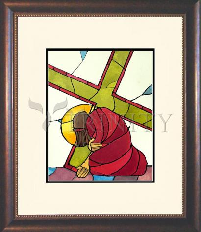 Wall Frame Double Mat Gold - Stations of the Cross - 07 Jesus Falls a Second Time by M. McGrath