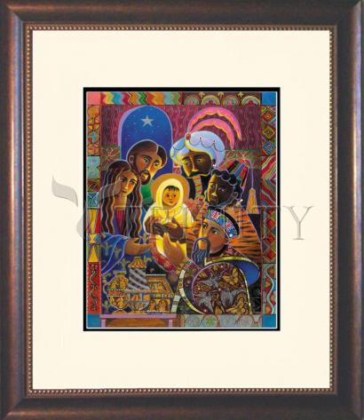 Wall Frame Double Mat Gold - Light of the World Nativity by M. McGrath