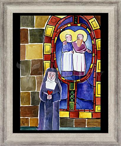 Wall Frame Silver Flat - St. Margaret Mary Alacoque at Window by M. McGrath