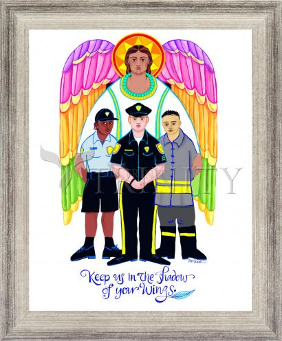 Wall Frame Silver Flat - St. Michael Archangel: Patron of Police and First Responders by M. McGrath