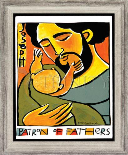 Wall Frame Silver Flat - St. Joseph, Patron of Fathers by M. McGrath