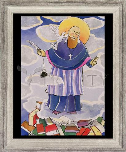 Wall Frame Silver Flat - St. Francis de Sales, Patron of Writers by M. McGrath