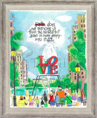 Wall Frame Silver Flat - Pope Francis: Philly Love by M. McGrath