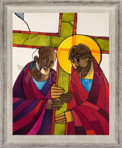 Wall Frame Silver Flat - Stations of the Cross - 05 Simon Helps Jesus Carry the Cross by M. McGrath