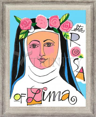 Wall Frame Silver Flat - St. Rose of Lima by M. McGrath
