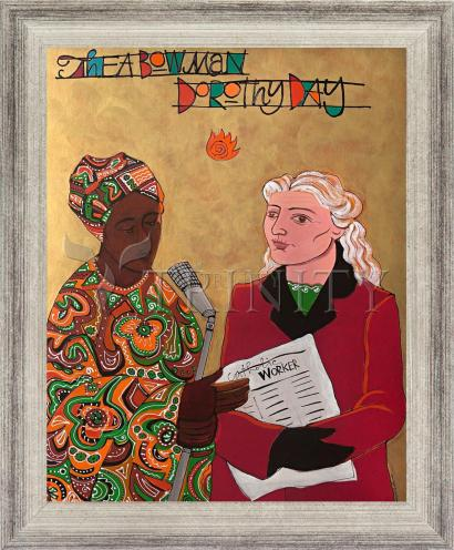 Wall Frame Silver Flat - Sr. Thea Bowman and Dorothy Day by M. McGrath