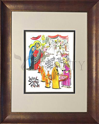 Wall Frame Double Mat Gold - Wine Snobs in Cana by M. McGrath