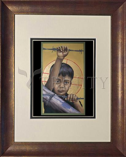 Wall Frame Double Mat Gold - Christ the Dreamer by M. Reyes