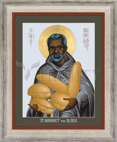 Wall Frame Silver Flat - St. Benedict the Black by R. Lentz
