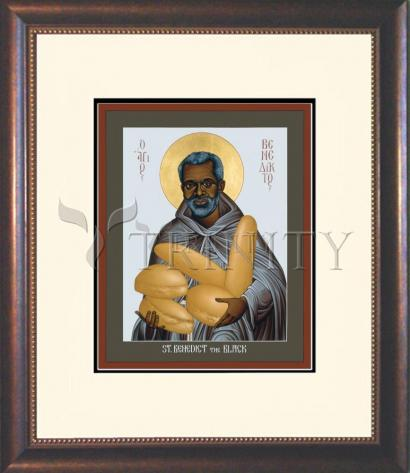 Wall Frame Double Mat Gold - St. Benedict the Black by R. Lentz