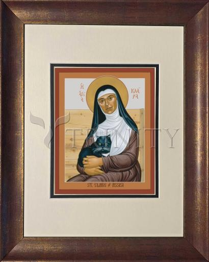 Wall Frame Double Mat Gold - St. Clare of Assisi by R. Lentz
