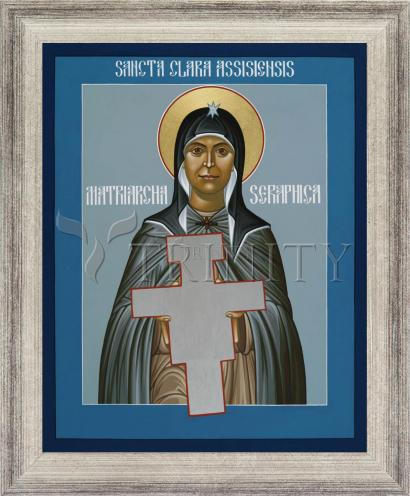 Wall Frame Silver Flat - St. Clare of Assisi: Seraphic Matriarch by R. Lentz