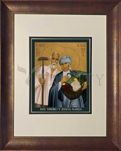 Wall Frame Double Mat Gold - Sts. Isidore and Maria by R. Lentz