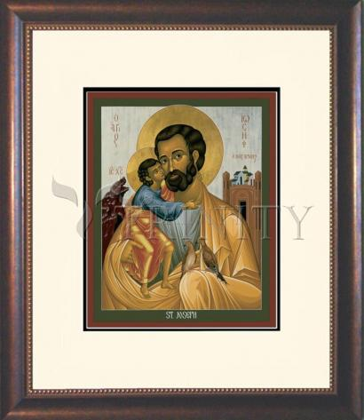 Wall Frame Double Mat Gold - St. Joseph of Nazareth by R. Lentz