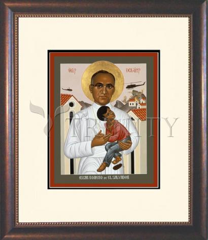 Wall Frame Double Mat Gold - St. Oscar Romero of El Salvador by R. Lentz
