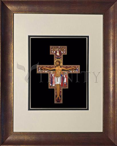 Wall Frame Double Mat Gold - San Damiano Crucifix by R. Lentz