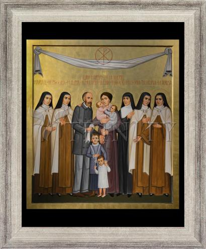 Wall Frame Silver Flat - Sts. Louis and Zélie Martin with St. Thérèse of Lisieux and Siblings by P. Orlando