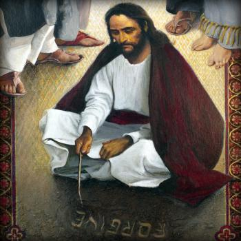 Jesus Writing In The Sand, by Louis Glanzman