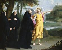 St. Benedict of Nursia - Angel Pointing to Monastery of Mont Cassino - Museum Religious Art Classics