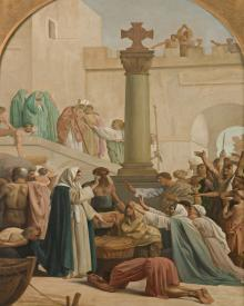 St. Genevieve Distributing Bread to Poor During Siege of Paris - Museum Religious Art Classics