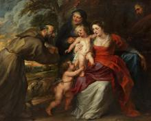 Holy Family with Sts. Francis and Anne and Infant St. John the Baptist - Museum Religious Art Classics