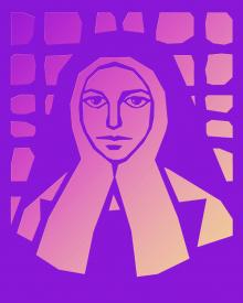St. Bernadette of Lourdes - Brown Glass by D. Paulos