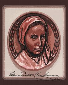 St. Bernadette of Lourdes - Portrait with Signature by D. Paulos